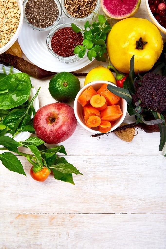 Balanced food background, organic food for healthy nutrition