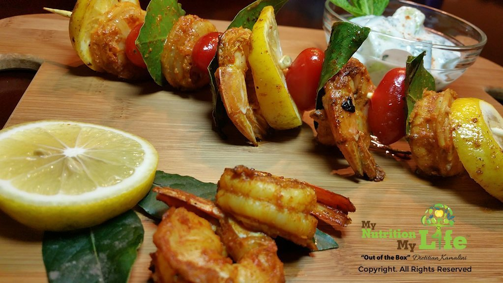 indian curried grilled shrimp with cool cucumber mint raita